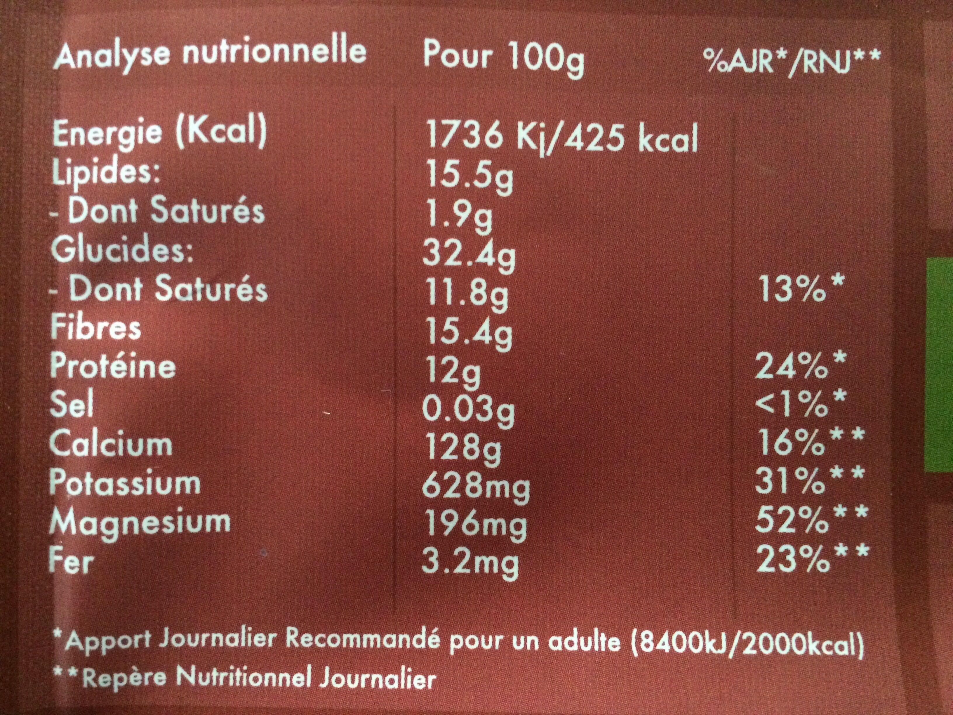 L'éveil du Bouddha Maca & Vanille - Nutrition facts - fr