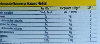 Gelatina 0% sabor piña - Información nutricional