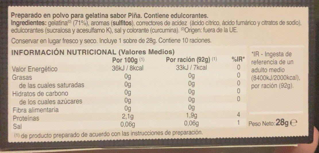 Gelatina zero - Informations nutritionnelles - es