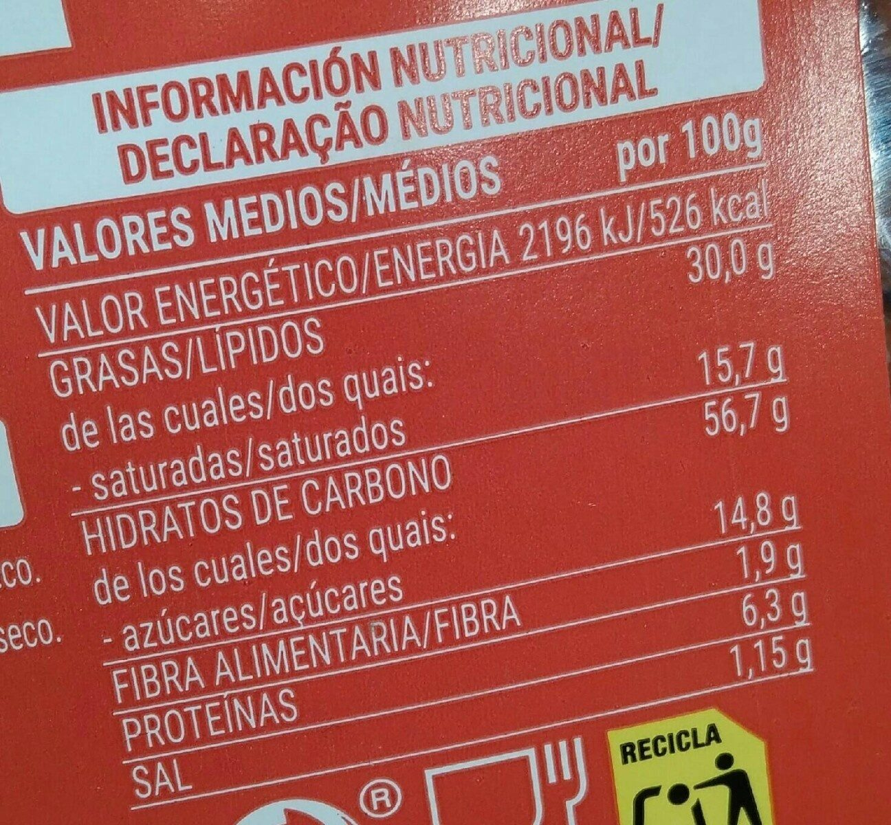 Palmeritas - Valori nutrizionali - es
