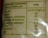 Açúcar amarelo areado - Informação nutricional