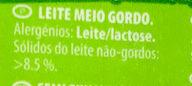 Leite UHT 1,5% Meio Gordo - Ingredients