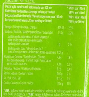Leite UHT 1,5% Meio Gordo - Nutrition facts