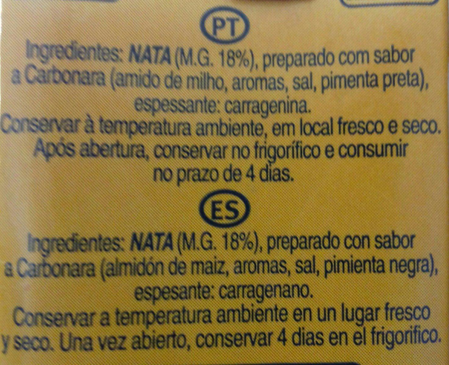 Nata Uht Carbonara - Ingrédients