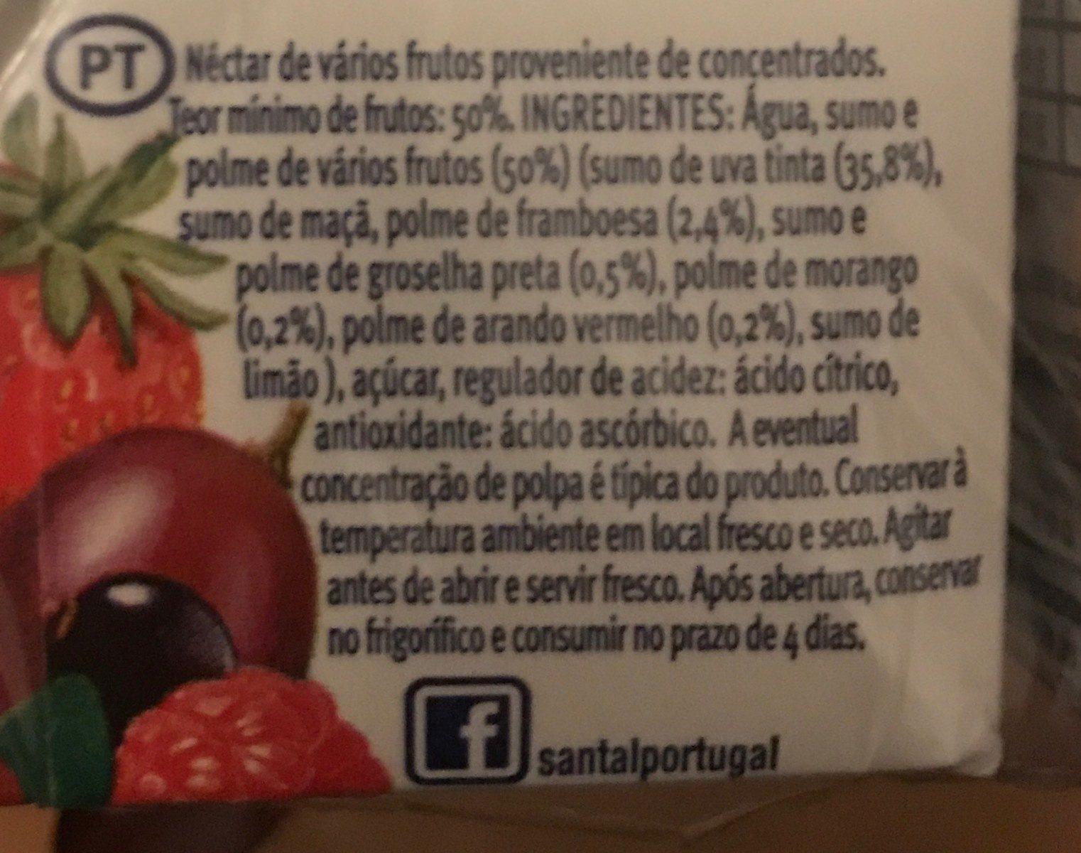 Santal Frutos Vermelhos - Ingrédients - fr