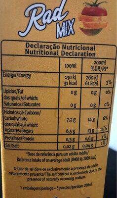 Rad mix - Informations nutritionnelles