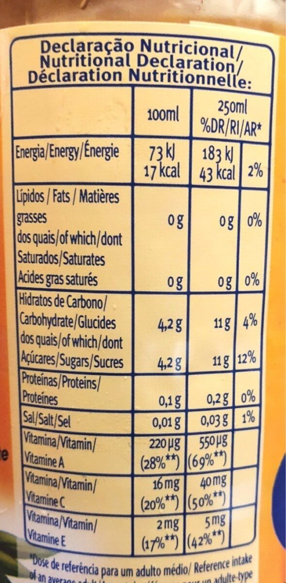 Sumo S / Gas Vitamina Frutos Exoticos / Cenoura - Informations nutritionnelles - fr