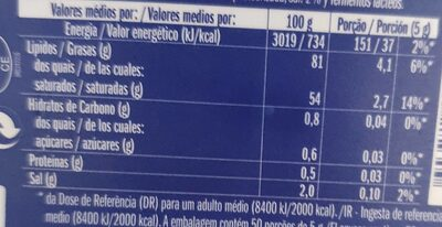 Manteiga com sal - Informations nutritionnelles - pt
