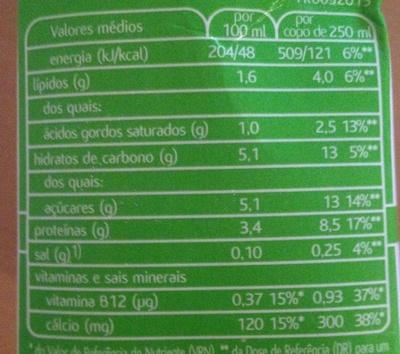 Leite meio gordo - Informação nutricional - pt