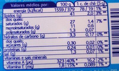 Manteiga Mimosa Magra - Informació nutricional - en