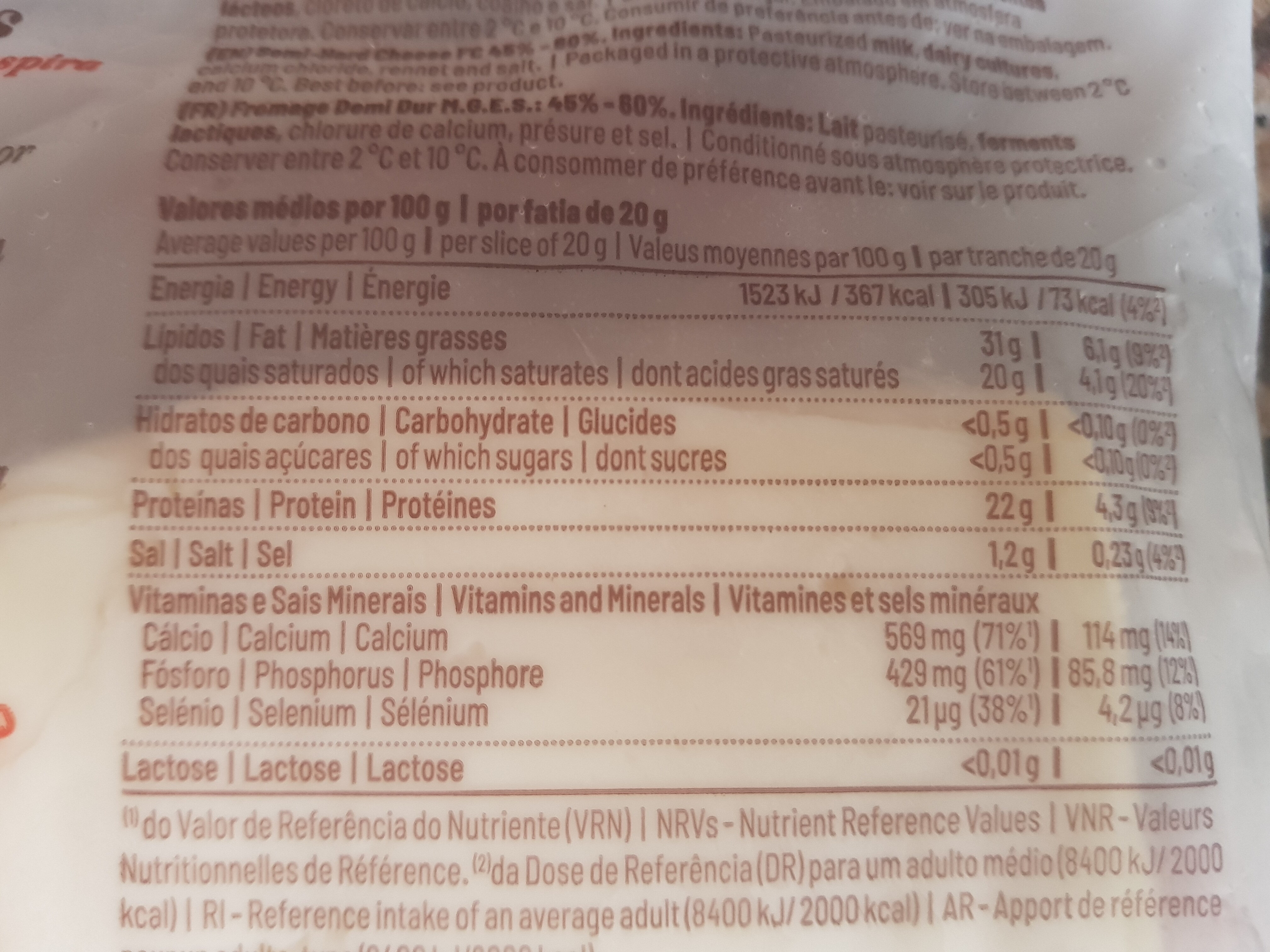 Queijo curado em fatias - Informations nutritionnelles - fr