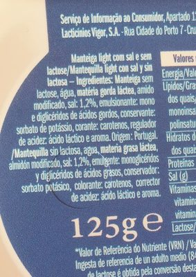 Manteiga sem lactose - Ingredients - fr
