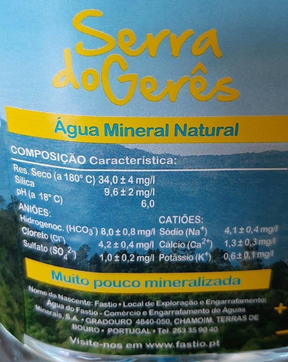 Agua Fastio 6 Litros CX / 2 Un - Voedingswaarden - fr
