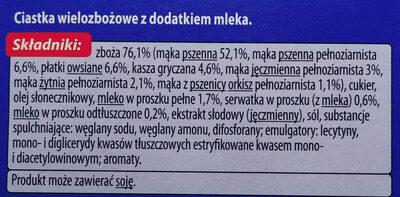 Ciasteczka wielozbożowe z dodatkiem mleka - Składniki - pl