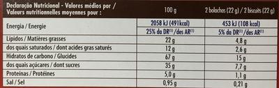 Biscuits Cacaotés Fourrés - Nutrition facts