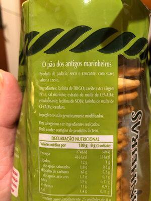 Marinheiras natural - Ingredientes - pt