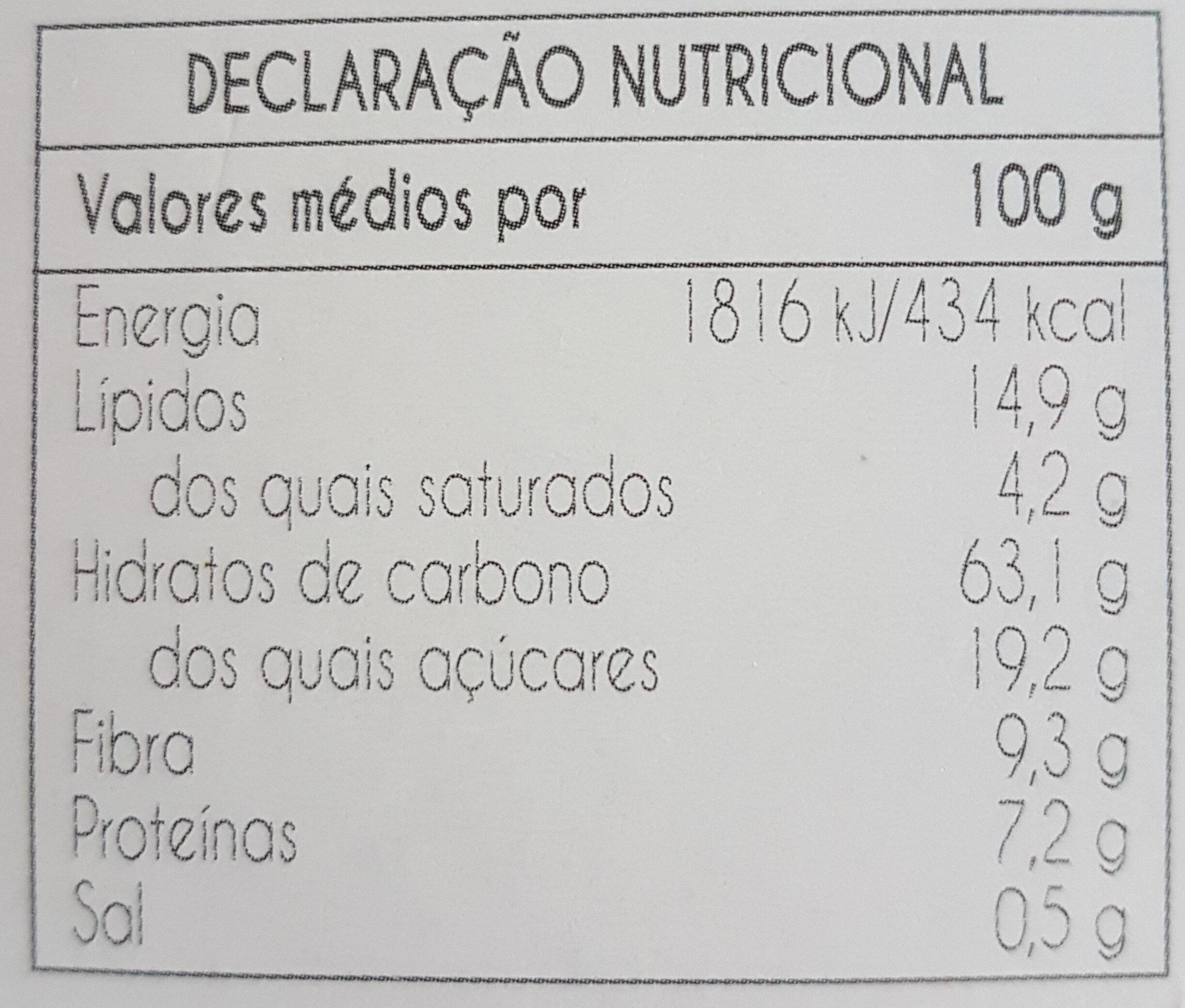 Nutríssimas Alfarroba - Informação nutricional
