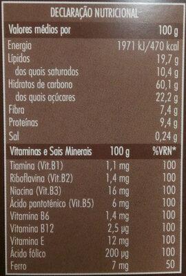 Granola Chocolate e Coco - Nutrition facts - pt