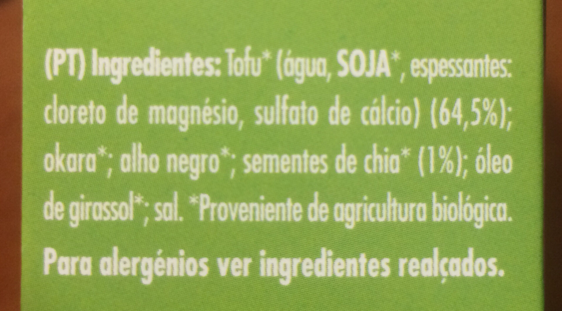 Cem Porcento Hambúrguer Proteico Tofu e Chia - Ingredients - pt