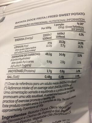 Batata doce frita - Informação nutricional - pt