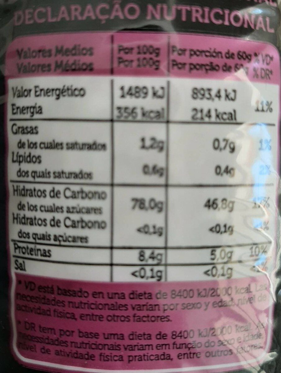 Arroz basmati - Nutrition facts - es