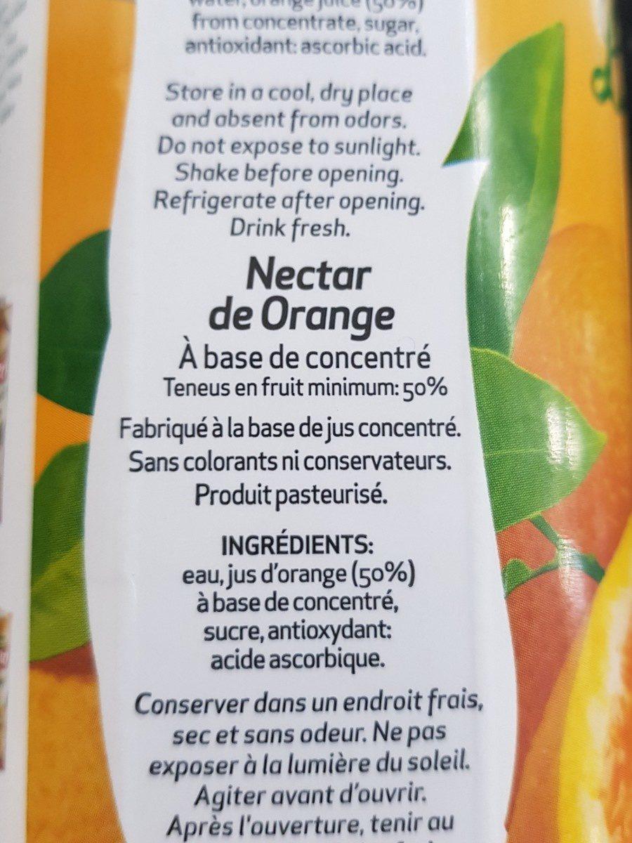 Nectar laranja orange - Ingredients