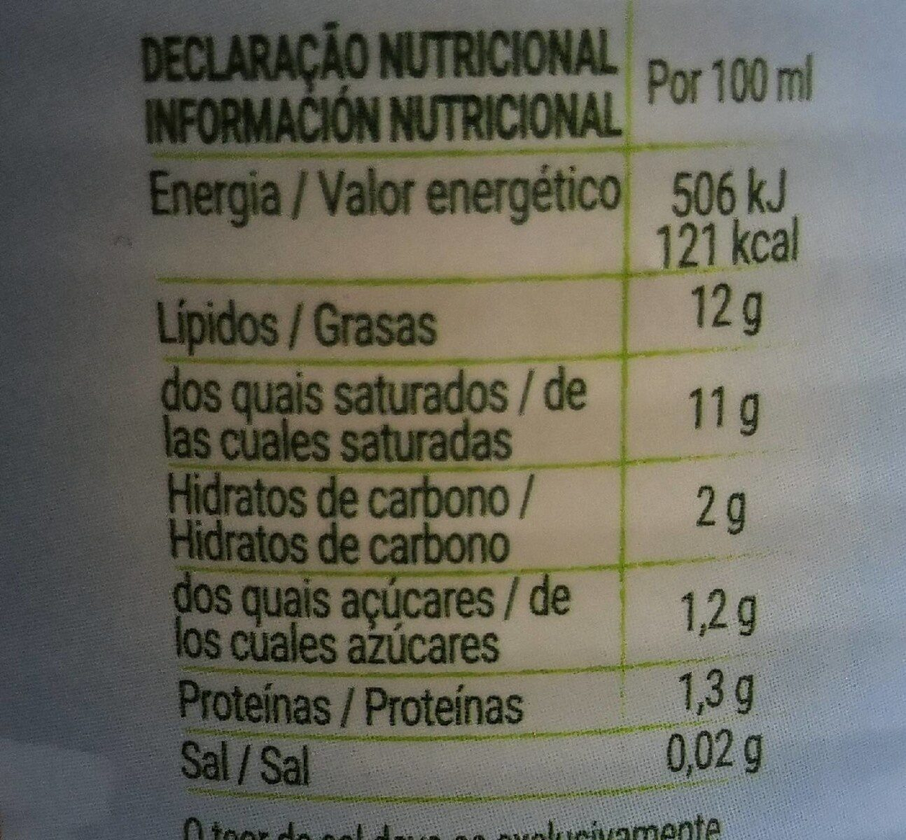 Leite de coco light biológico - Nutrition facts - es
