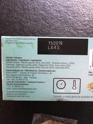 Cha Dom Duarte Saquetas Digestao Facil 1,5GR CX - Valori nutrizionali - fr