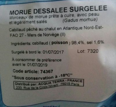 Morue Dessalée Surgelée - Ingredients