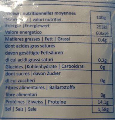 Morue Dessalée Surgelée - Nutrition facts