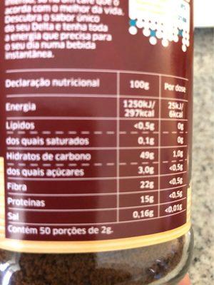 Cafe Delta Soluvel - Informació nutricional