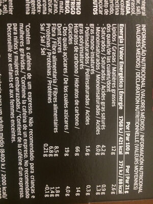 Croffee - Informations nutritionnelles - pt