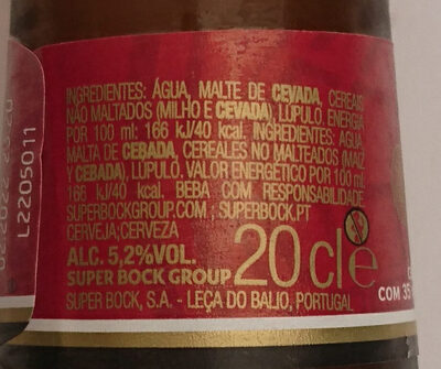 Cerveja mini - Nutrition facts - pt