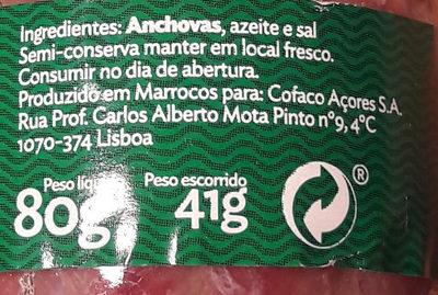 filet d'anchois à l'huile - Ingrédients