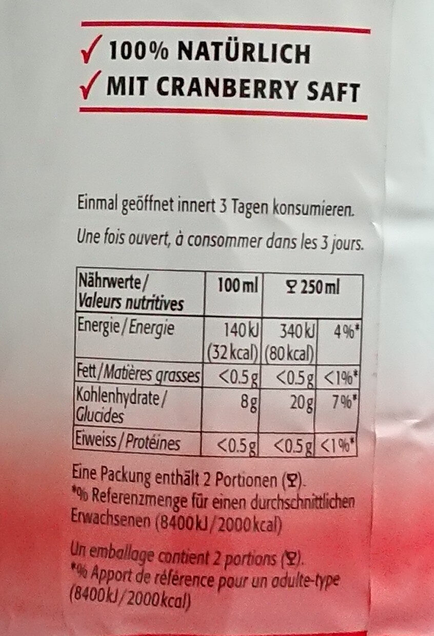 Apfel Cranberry - Nutrition facts - fr