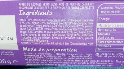 Nutrition Plaisir  Cabillaud purée de légumes verts - Ingrédients