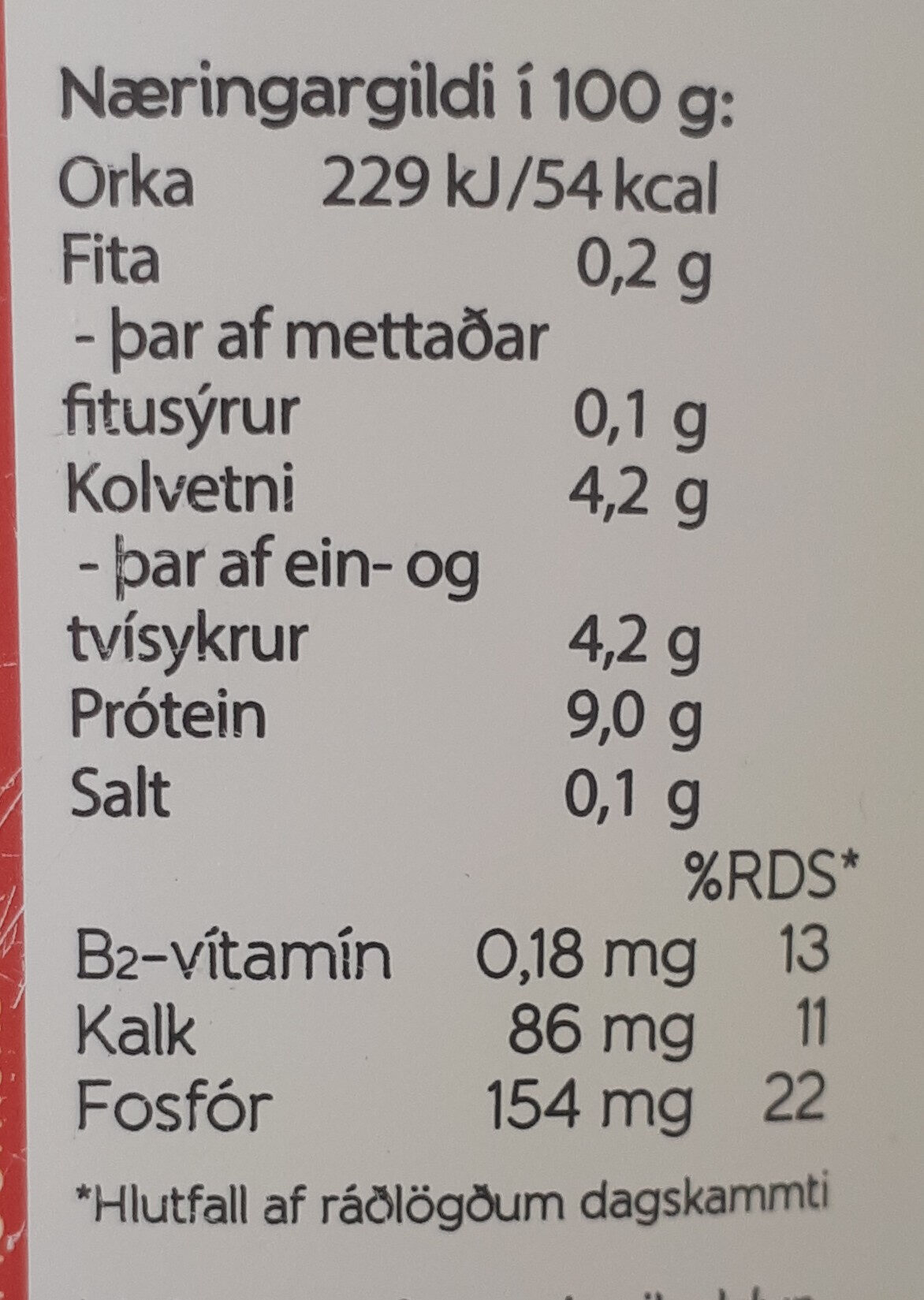 - Nutrition facts - is