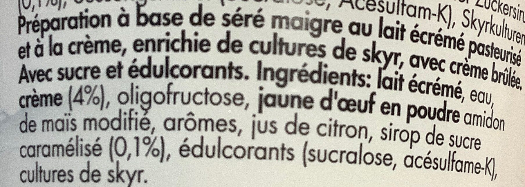 Skyr Crème brulée - Ingredienti - de