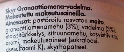 Skyr Granaattiomena-vadelma - Ingredienti - fi