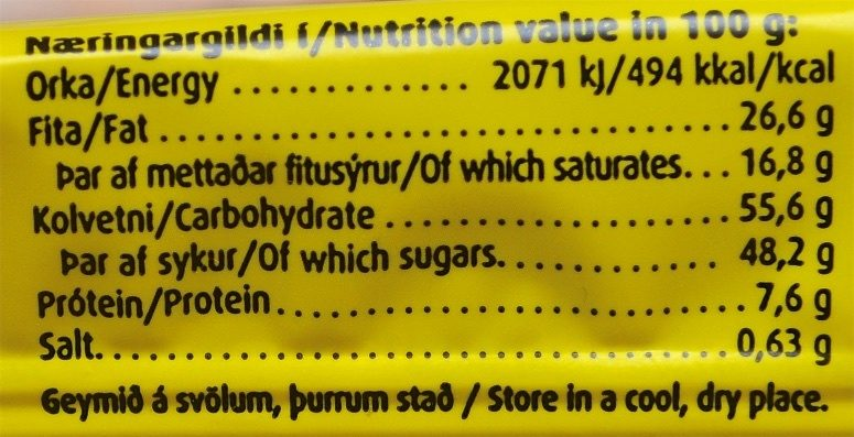 Eitt Sett - Informations nutritionnelles