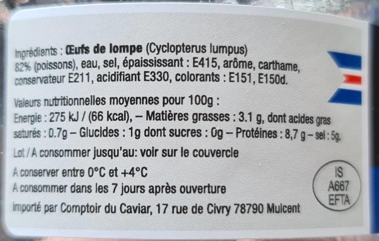 Oeufs de lompe noirs - Nutrition facts - fr