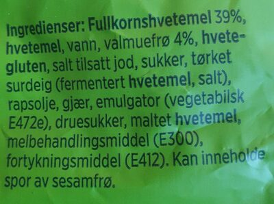 Hatting fullkorn møllehjul - Ingredients - en