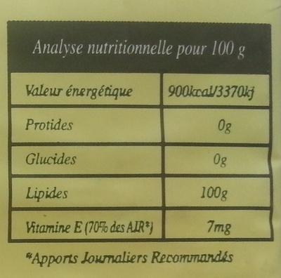 Huile de palme biologique - Informations nutritionnelles