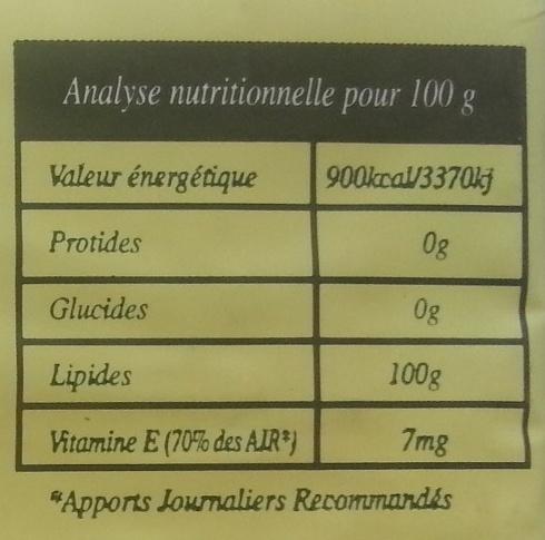 Huile de palme biologique - Nutrition facts - fr