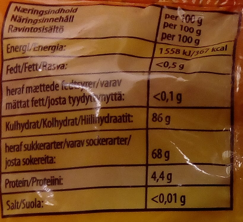 Haribo Persikor - Nutrition facts