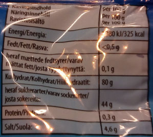 Haribo Nappar Liquorice - Nutrition facts