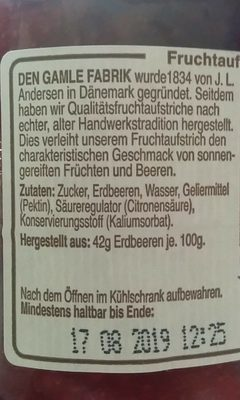 Dänischer Fruchtaufstrich Erdbeere - Inhaltsstoffe