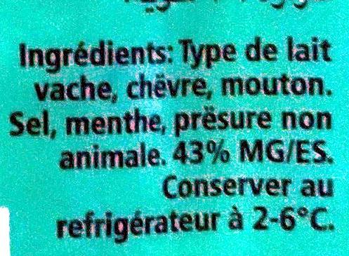 Fromage à pate demi-dure 43% MG/ES - Ingrediënten - fr