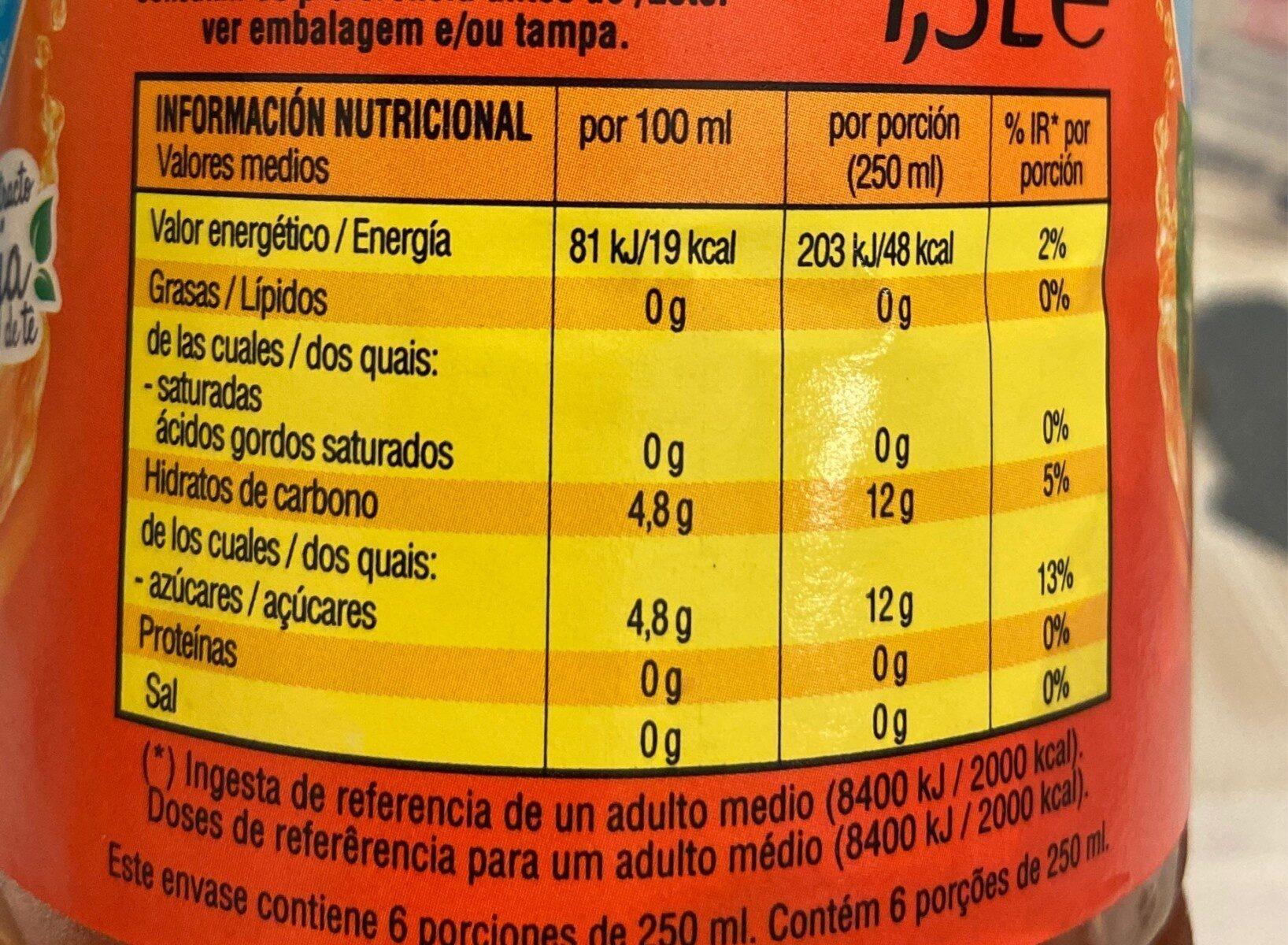 Té Melocotón 1,5 L. - Informations nutritionnelles - fr