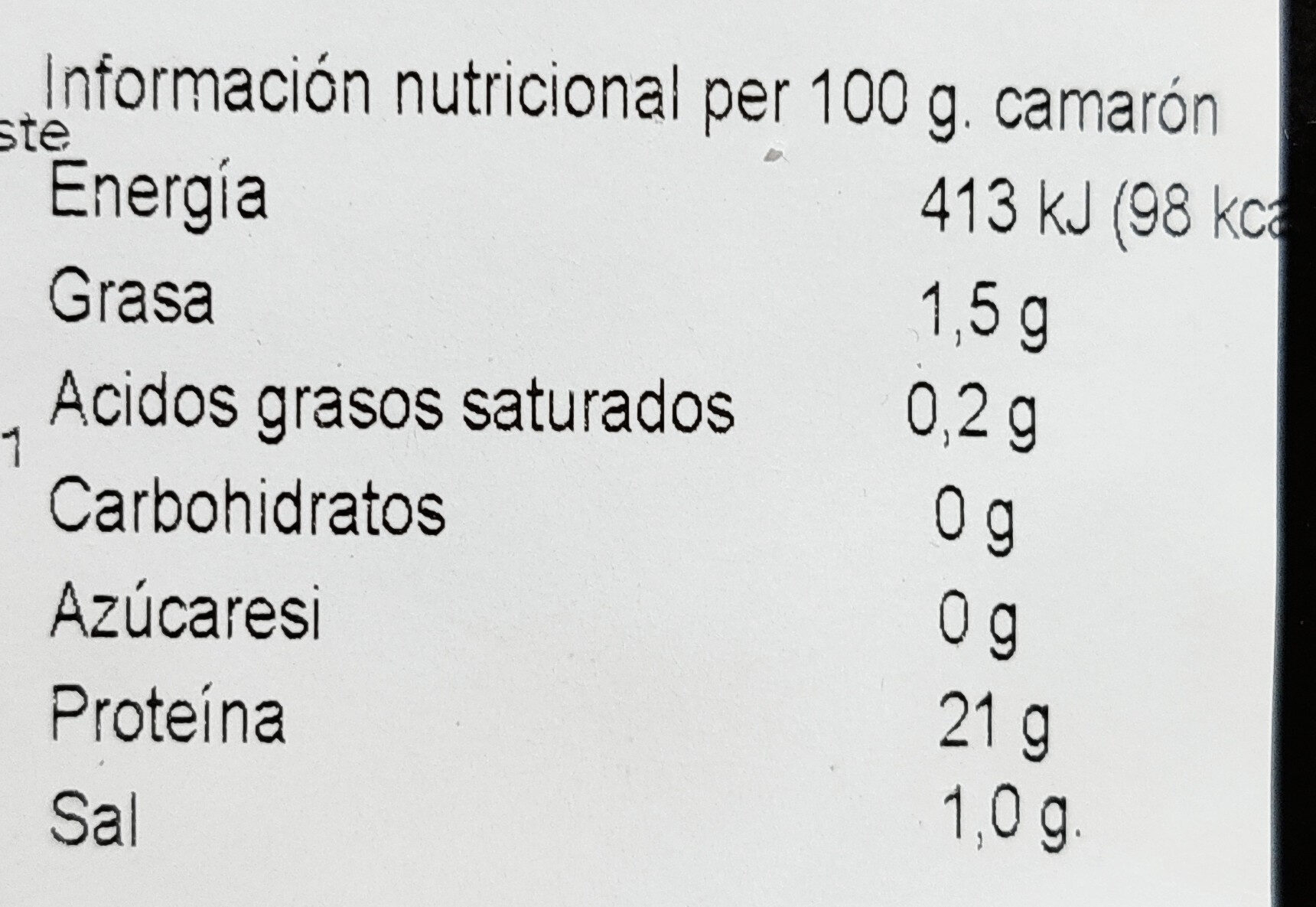 Camarón entero cocido - Nutrition facts